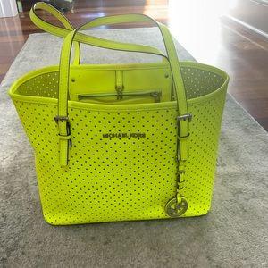 Michael Kors Neon Yellow Perforated Handbag